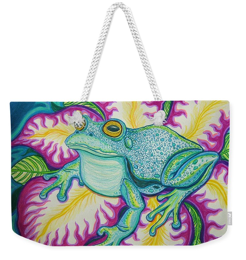 Frog And Flower Art Weekender Tote Bag featuring the drawing Frog And Flower by Nick Gustafson