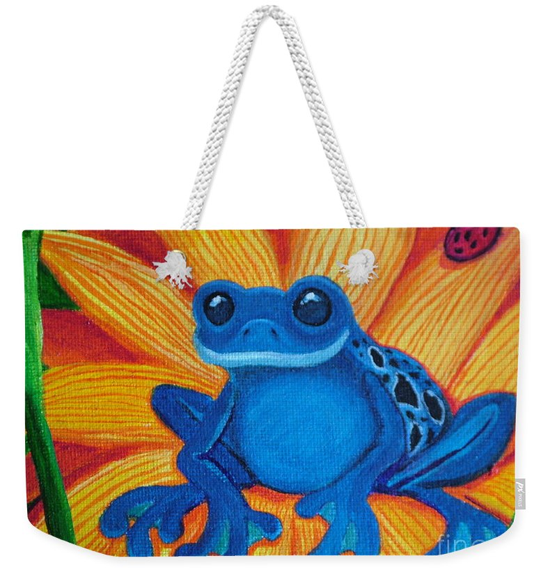 Frog And Flower Painting Weekender Tote Bag featuring the painting Frog And Lady Bug by Nick Gustafson