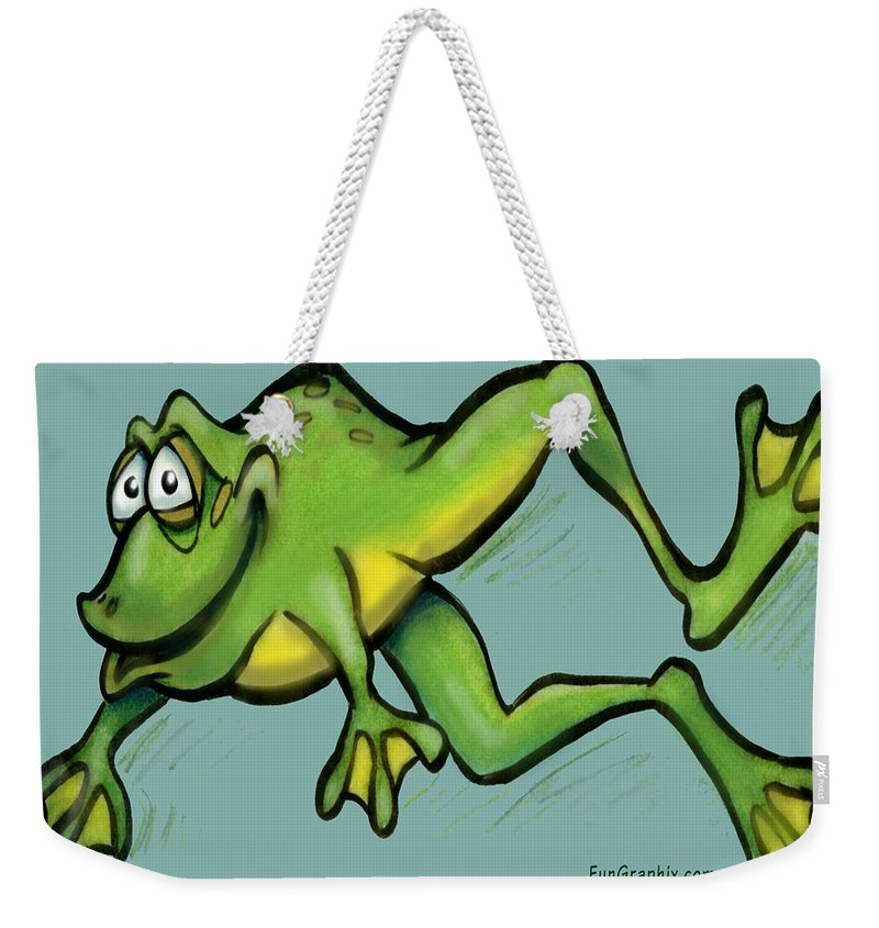 Frog Weekender Tote Bag featuring the greeting card Frog by Kevin Middleton
