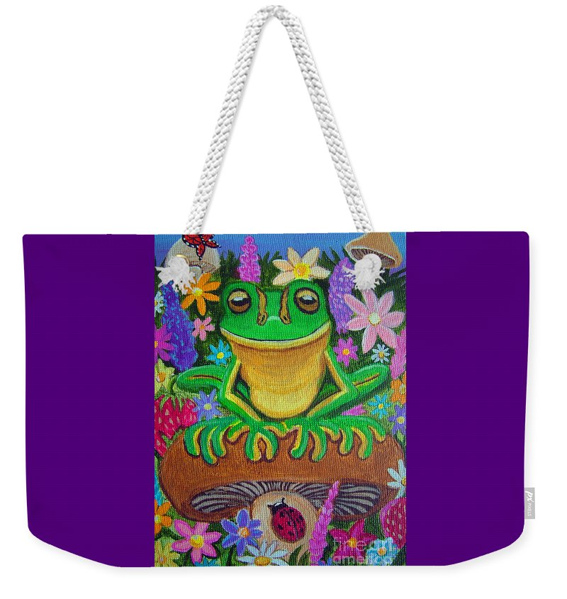 Frog Artwork Frog Painting Whimsical Artwork Green Frogs Weekender Tote Bag featuring the painting Frog On Mushroom by Nick Gustafson