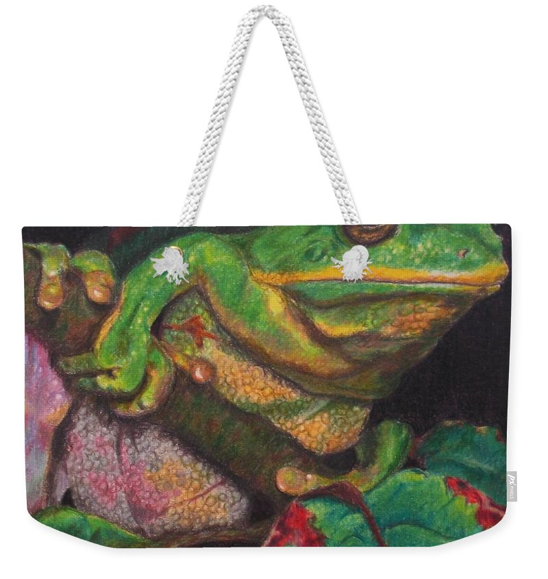Frog Weekender Tote Bag featuring the painting Froggie by Karen Ilari