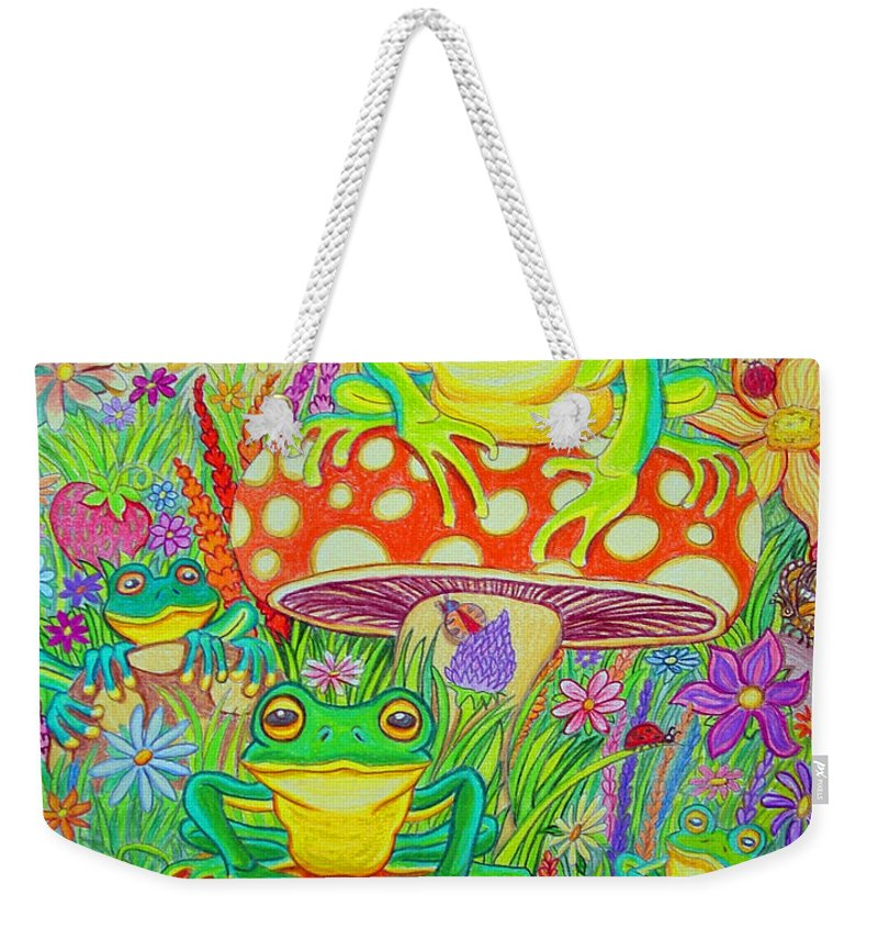 Frog Art Weekender Tote Bag featuring the drawing Frogs And Mushrooms by Nick Gustafson