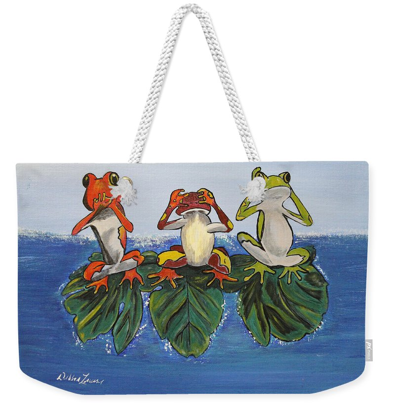 Frogs Weekender Tote Bag featuring the painting Frogs Without Sense by Debbie Levene