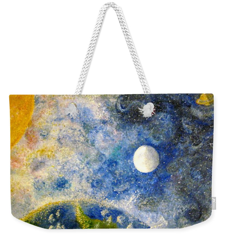 Pointillism Weekender Tote Bag featuring the painting From A Distance by Tina Swindell