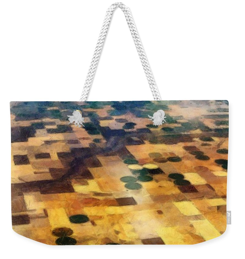 Crop Circles Weekender Tote Bag featuring the digital art From Above by Michelle Calkins