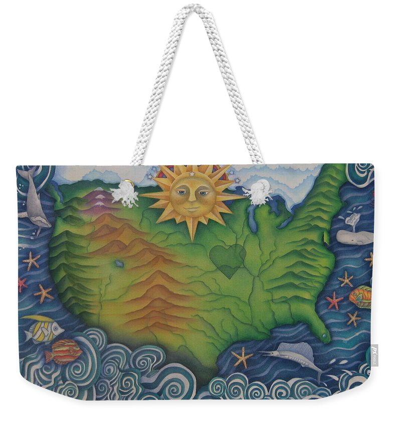 Map Weekender Tote Bag featuring the painting From Sea To Shining Sea by Jeniffer Stapher-Thomas