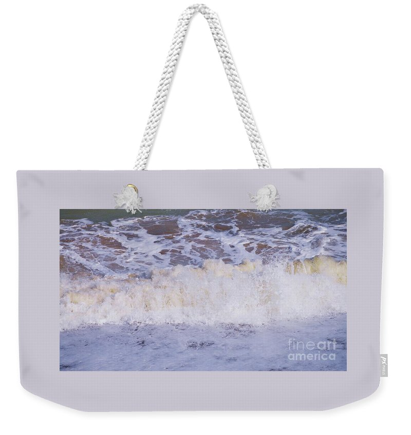 Wave Art Water Beach Scene Bray Irish Sea Nature Seascape Meditation Tranquil Motion Travel Outdoors Wood Print Metal Frame Canvas Print Poster Print Available On Tote Bags Mugs T Shirts Shower Curtains Pouches Weekender Tote Bags Yoga Mats And Phone Cases Weekender Tote Bag featuring the photograph From The Beach In Bray, Ireland by Poet's Eye