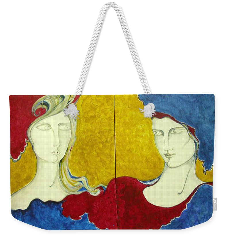 Original Art Weekender Tote Bag featuring the painting The First Sight by Rae Chichilnitsky