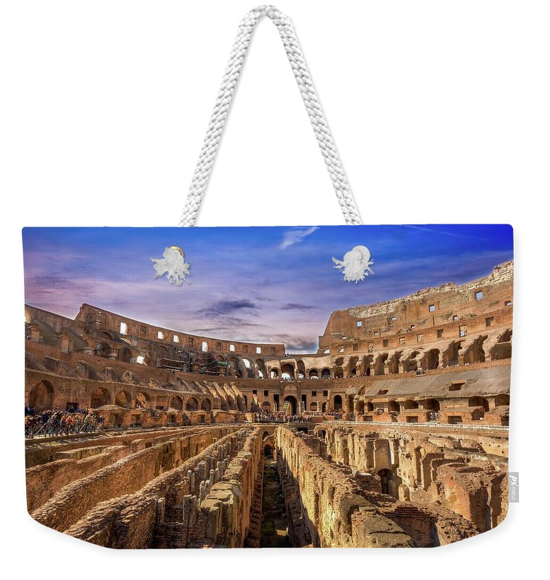 Architecture Weekender Tote Bag featuring the photograph From The Floor Of The Colosseum by Mike Houghton BlueMaxPhotography