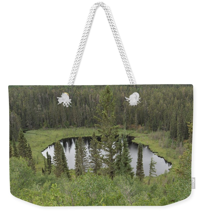 Esker Hills Saskatchewan Hanson Lake Road Lake Forest Water Trees Evergreen Scenery Wild Pond Weekender Tote Bag featuring the photograph From The Top Of Esker Hills by Andrea Lawrence