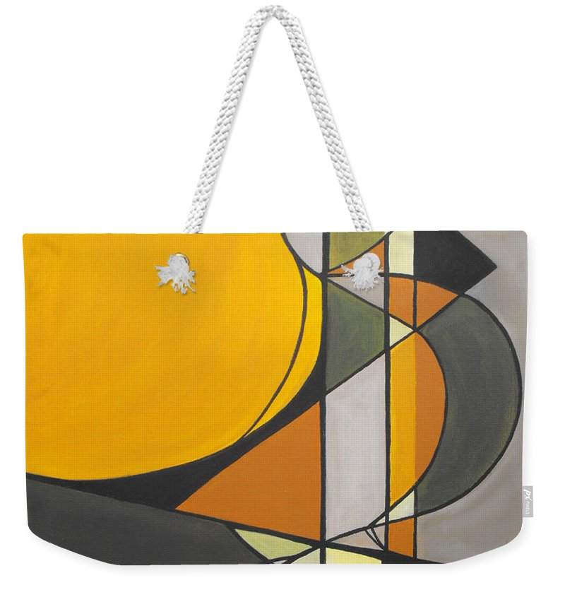 ruth Palmer Abstract Geometric Painting Acrylic Black Grey Green Orange Weekender Tote Bag featuring the painting From Time To Time by Ruth Palmer