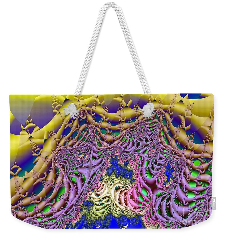 Seaweed Weekender Tote Bag featuring the digital art Fronds And Bladders In Lavendar by Ron Bissett