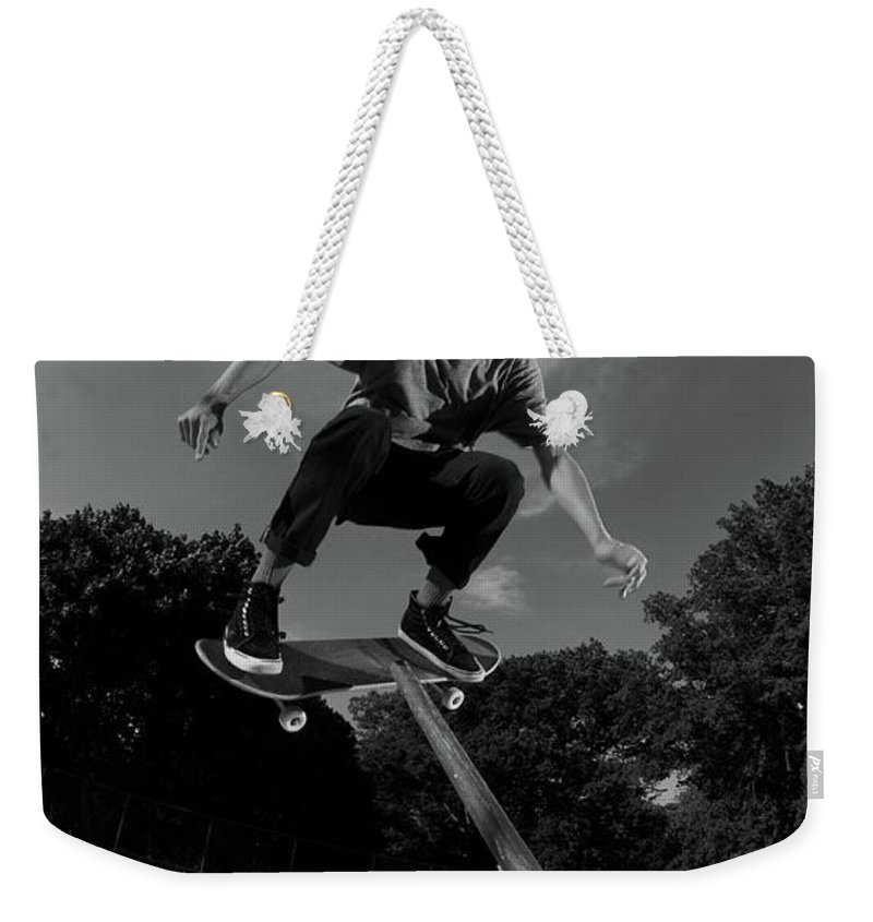 Skate Weekender Tote Bag featuring the photograph Front Board Jam by Jordan Mayle