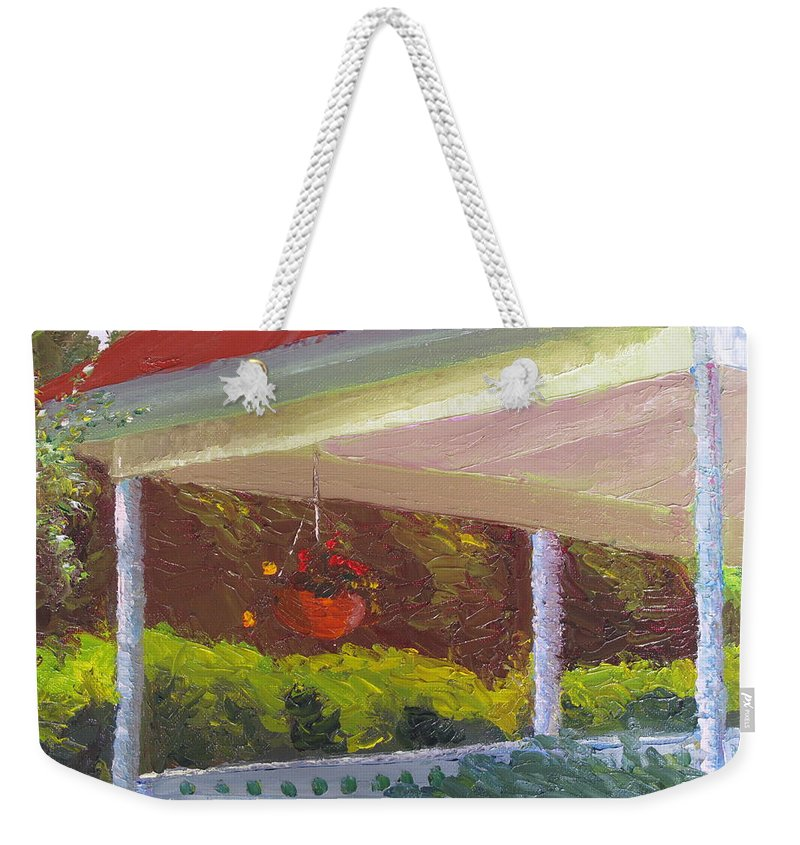 Landscape Painting Weekender Tote Bag featuring the painting Front Porch - Morning by Lea Novak