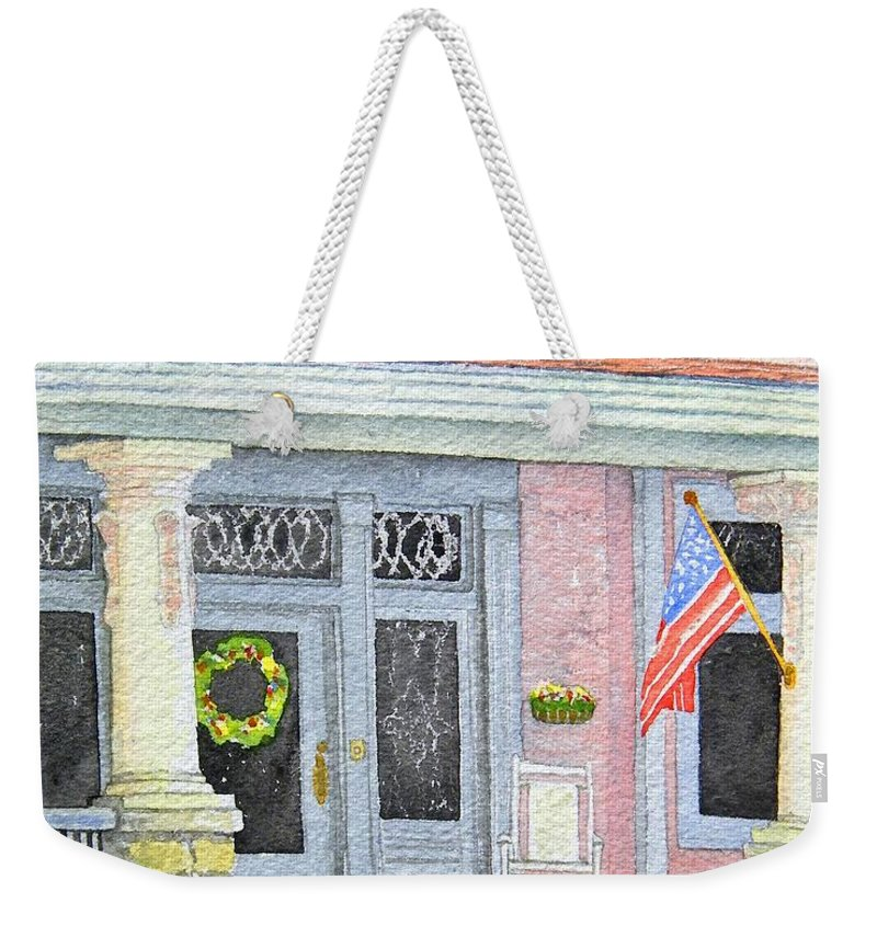 Front Porch Weekender Tote Bag featuring the painting Front Porch by Gale Cochran-Smith