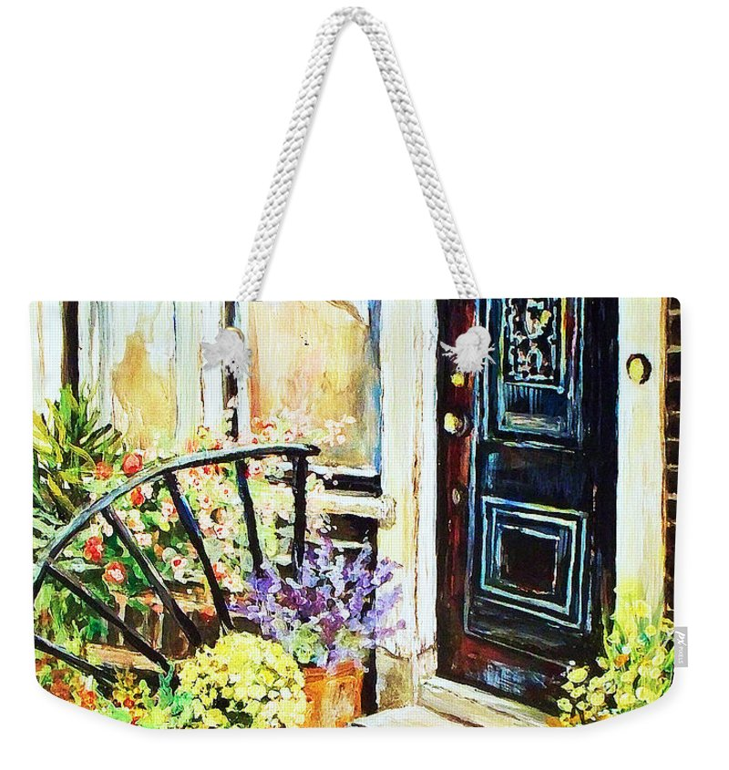 Frontporch Weekender Tote Bag featuring the painting Front Porch by Linda Shackelford