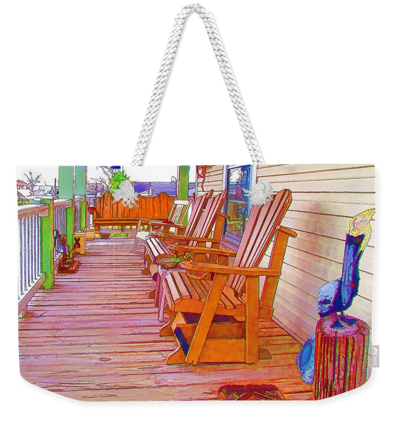American Weekender Tote Bag featuring the painting Front Porch On An Old Country House 1 by Jeelan Clark