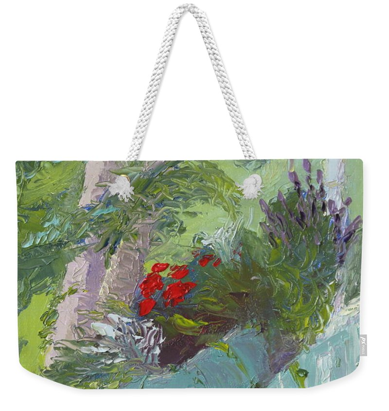 Porch Painting Weekender Tote Bag featuring the painting Front Porch View by Lea Novak