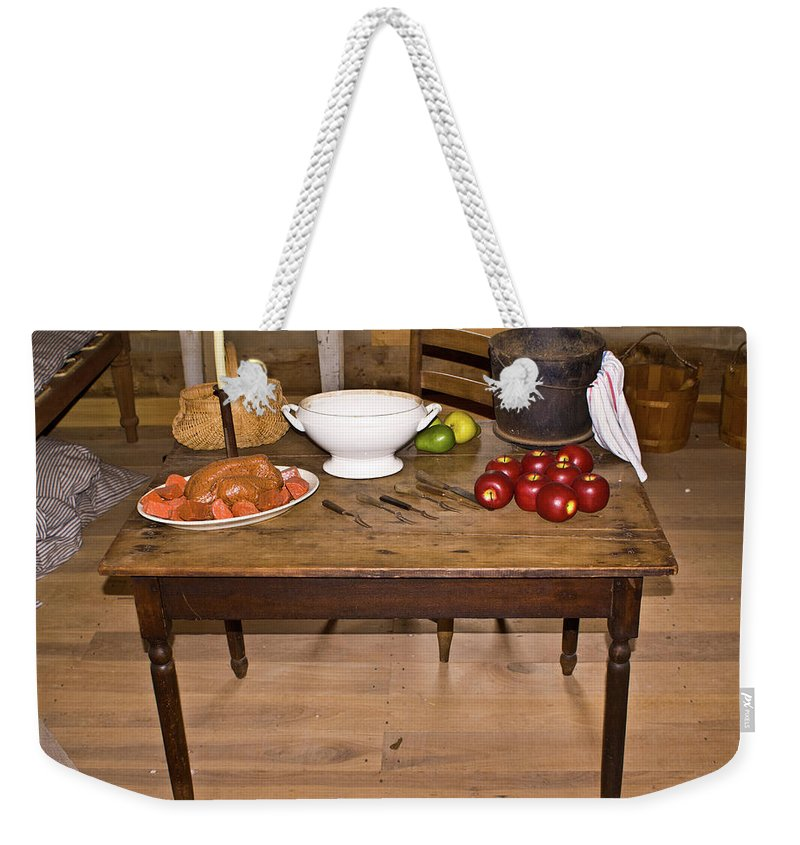 Table Weekender Tote Bag featuring the photograph Frontier Table by Douglas Barnett