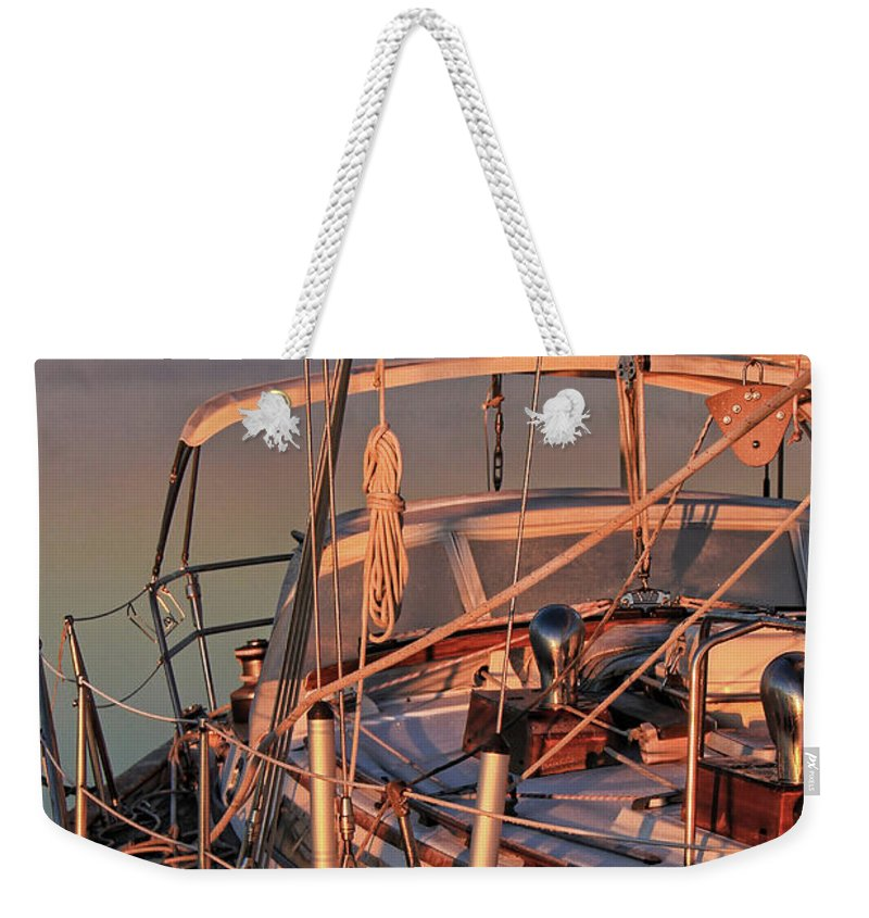 Frost Weekender Tote Bag featuring the photograph Frost On The Boat by Timothy Gass