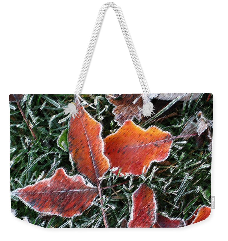Leaves Fall Leaf Orange Red Nature Digital Art Weekender Tote Bag featuring the photograph Frosted Leaves by Shari Jardina