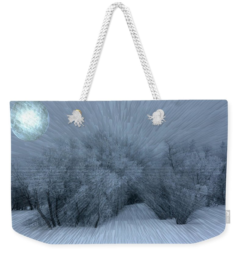 Moon Hoar Frost Trees Sky Winter Snow Cold Fog Lunar Weekender Tote Bag featuring the photograph Frosted Moon by Andrea Lawrence