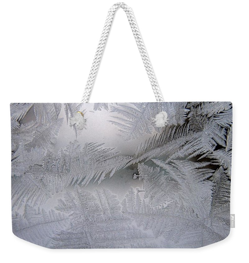 Frost Weekender Tote Bag featuring the photograph Frosted Pane by Rhonda Barrett