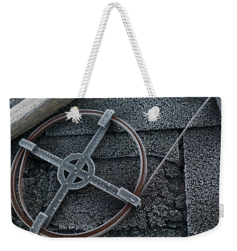 Frosted Weekender Tote Bag featuring the photograph Frosted Tool by Douglas Barnett