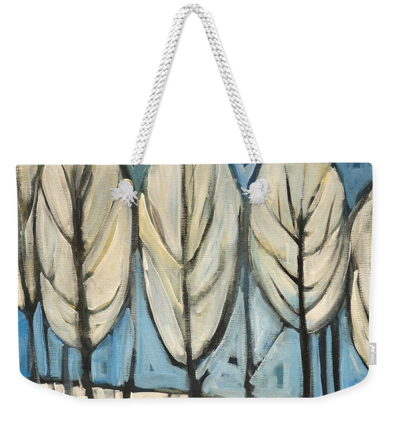 Frost Weekender Tote Bag featuring the painting Frosted Trees by Tim Nyberg