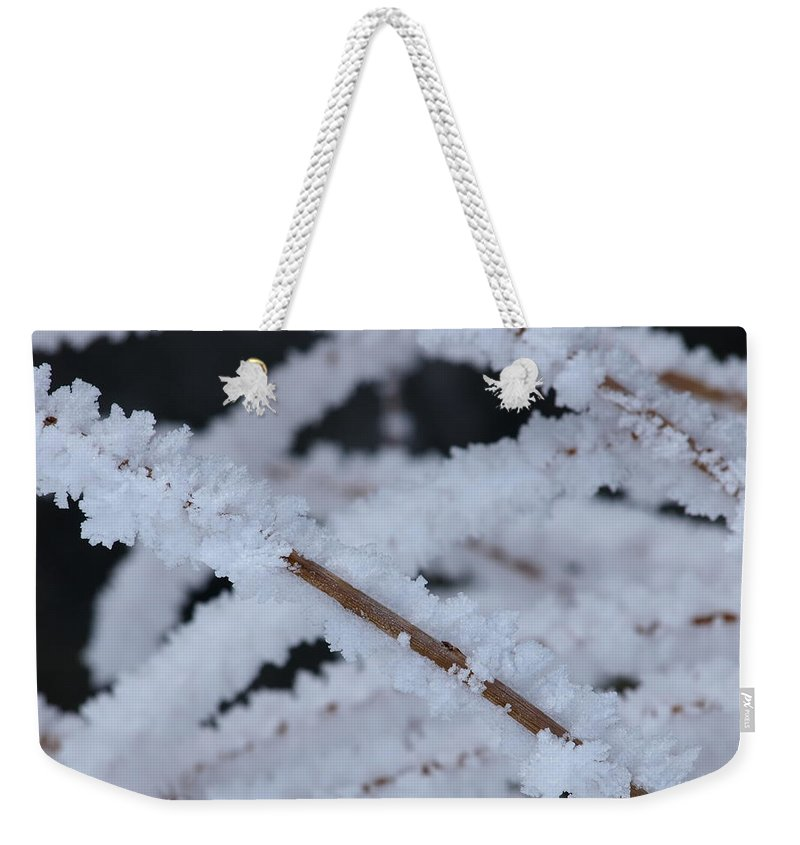 Frost Weekender Tote Bag featuring the photograph Frosted Twigs by DeeLon Merritt