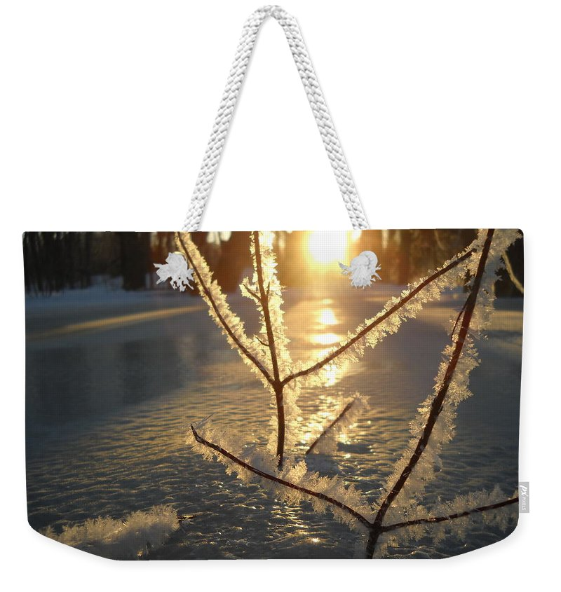 Frost. Branches Weekender Tote Bag featuring the photograph Frosty Branches At Sunrise by Kent Lorentzen