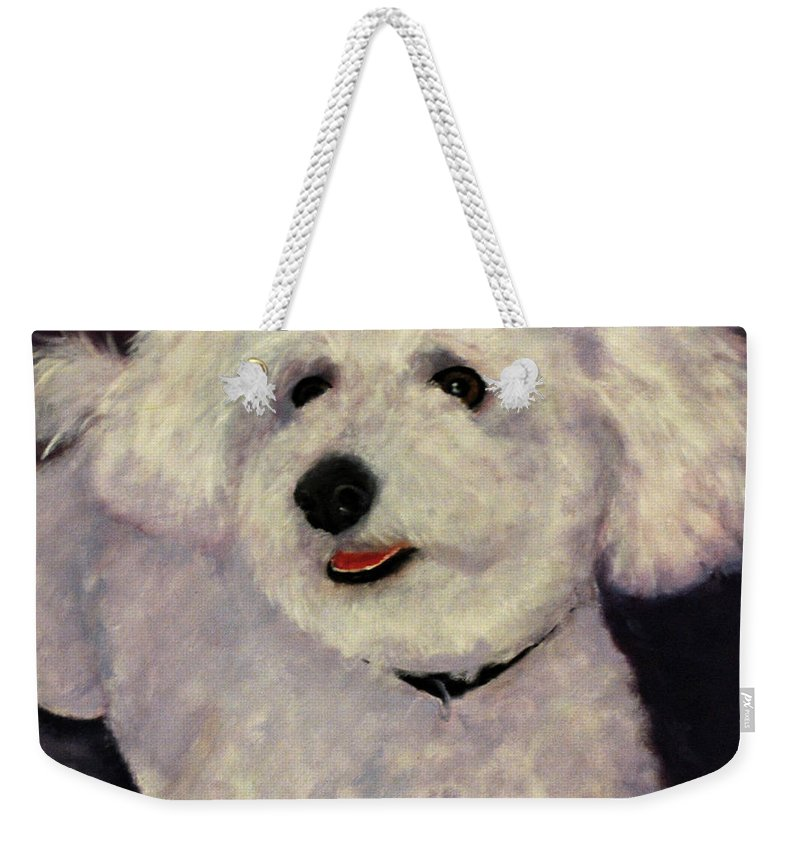 White Weekender Tote Bag featuring the painting Frosty by Carolyn Shireman