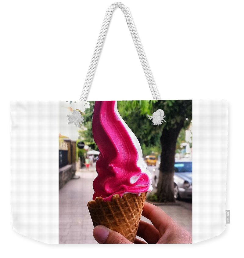 Ice Cream Weekender Tote Bag featuring the photograph Frosty by Ina Myrtollari