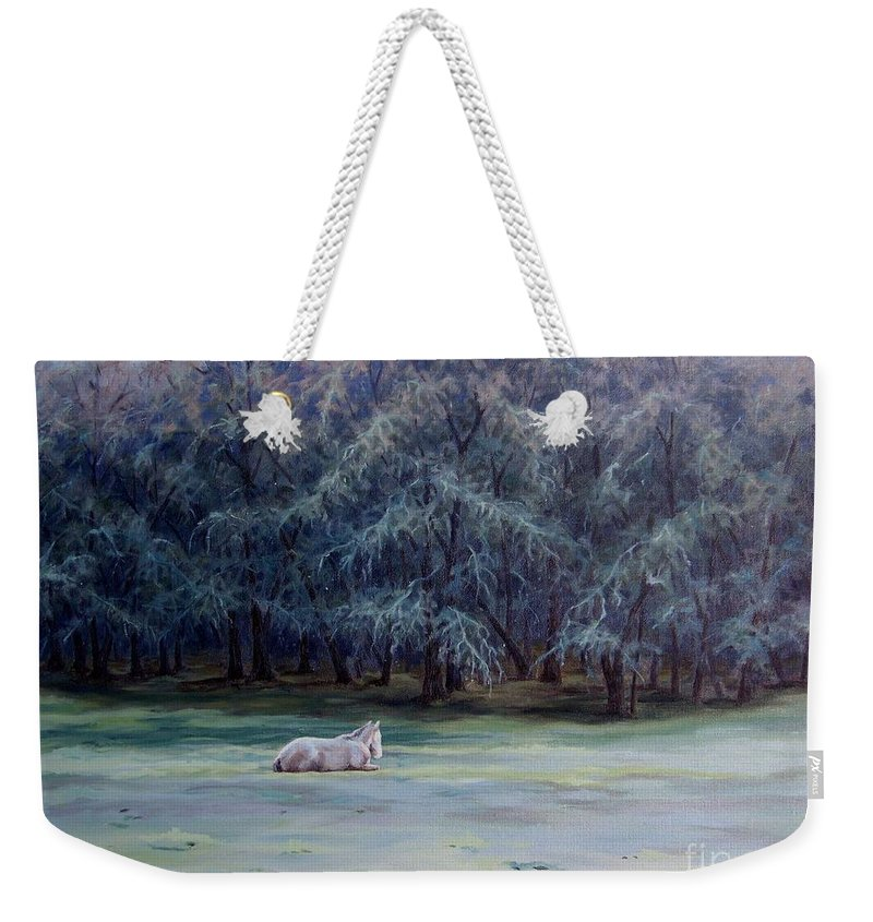 Horse Oil Painting Weekender Tote Bag featuring the painting Frosty Morning by Cynthia Riley