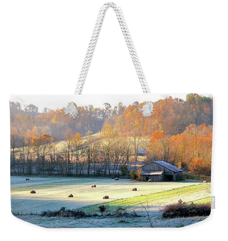 Elliott Weekender Tote Bag featuring the photograph Frosty Morning On The Farm by Randall Evans