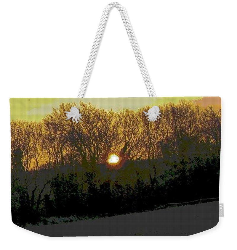Frosty Morning Weekender Tote Bag featuring the photograph Frosty Morning Sunrise by Maria Joy
