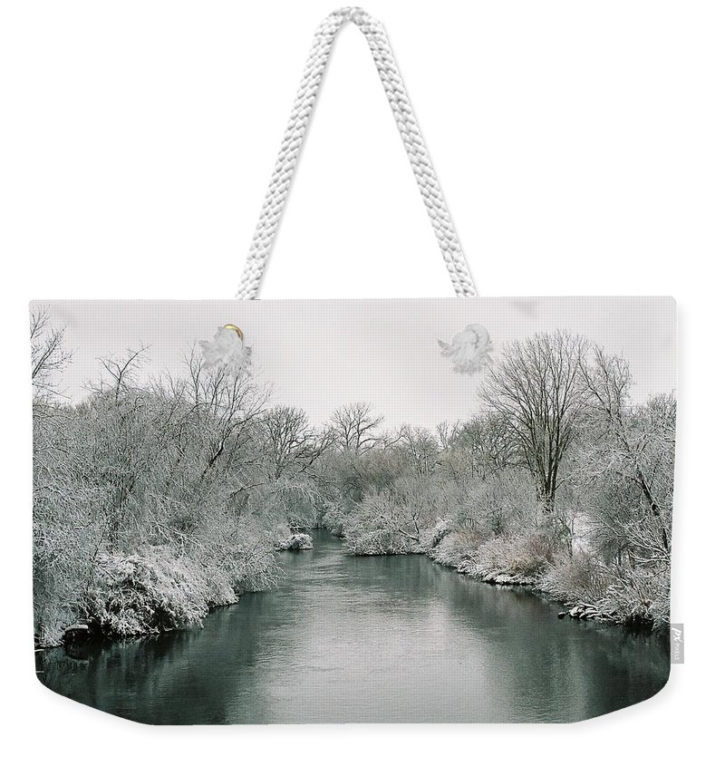 Frost Weekender Tote Bag featuring the photograph Frosty River by Lauri Novak