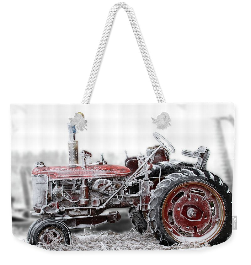 Tractor Weekender Tote Bag featuring the photograph Frosty Tractor by David M Porter