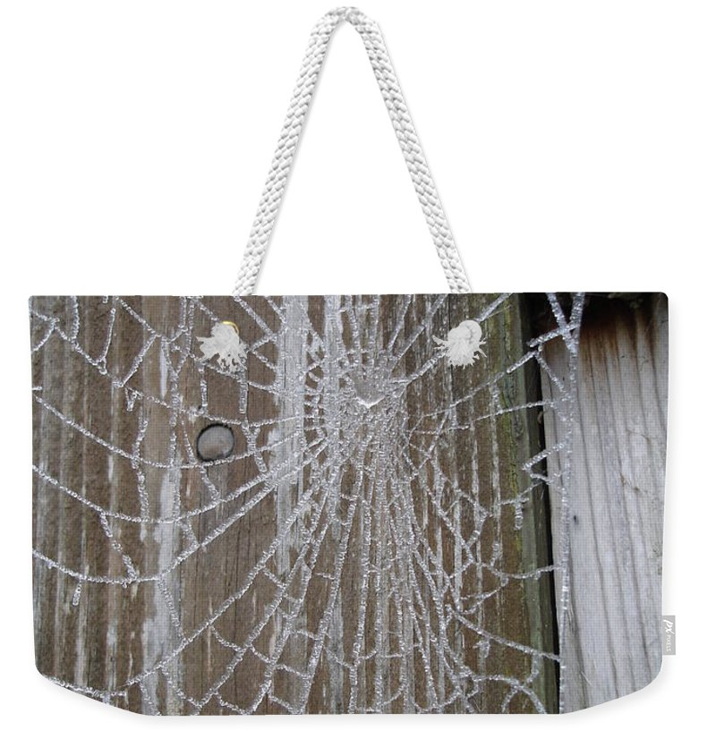 Winter Weekender Tote Bag featuring the photograph Frosty Web by Susan Baker