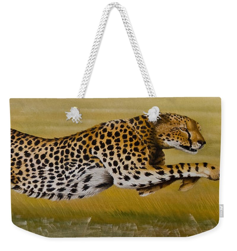 Cheetah Flying Run Speed Stretch Chase Weekender Tote Bag featuring the painting Frozen At Full Charge by Pauline Sharp