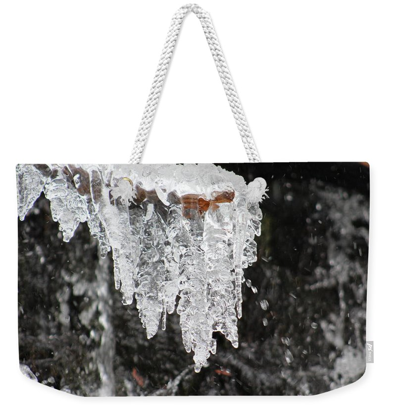 Frozen Weekender Tote Bag featuring the photograph Frozen Branch by LKB Art and Photography