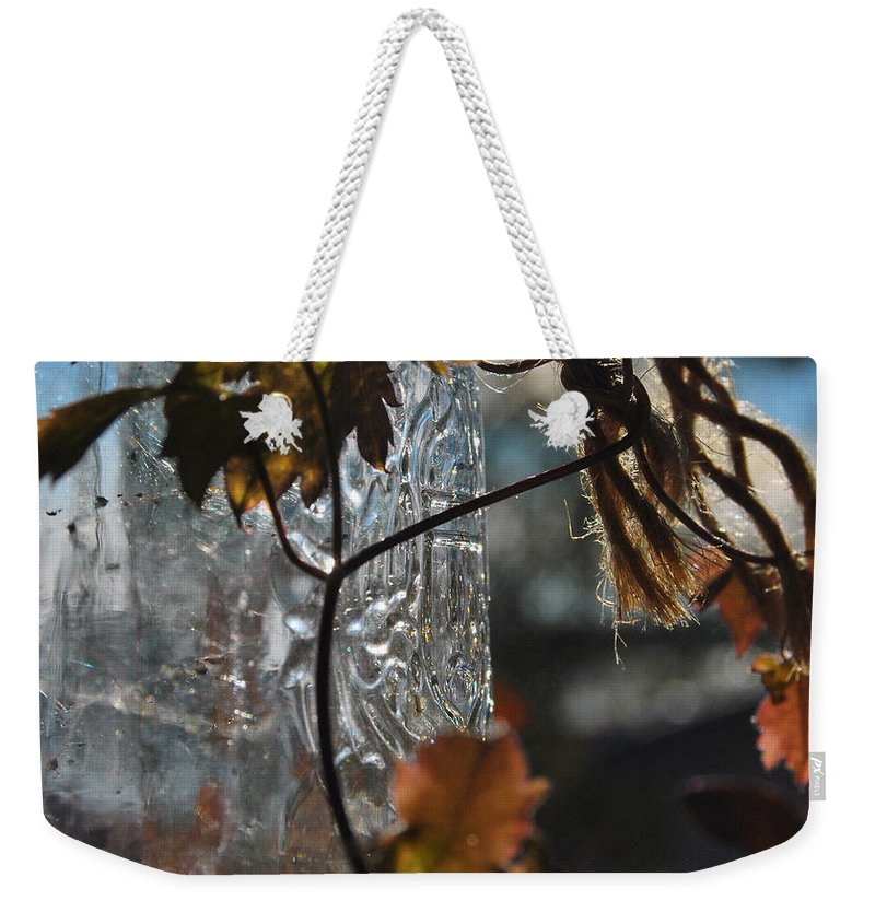 Jar Weekender Tote Bag featuring the photograph Frozen Breath by The Artist Project