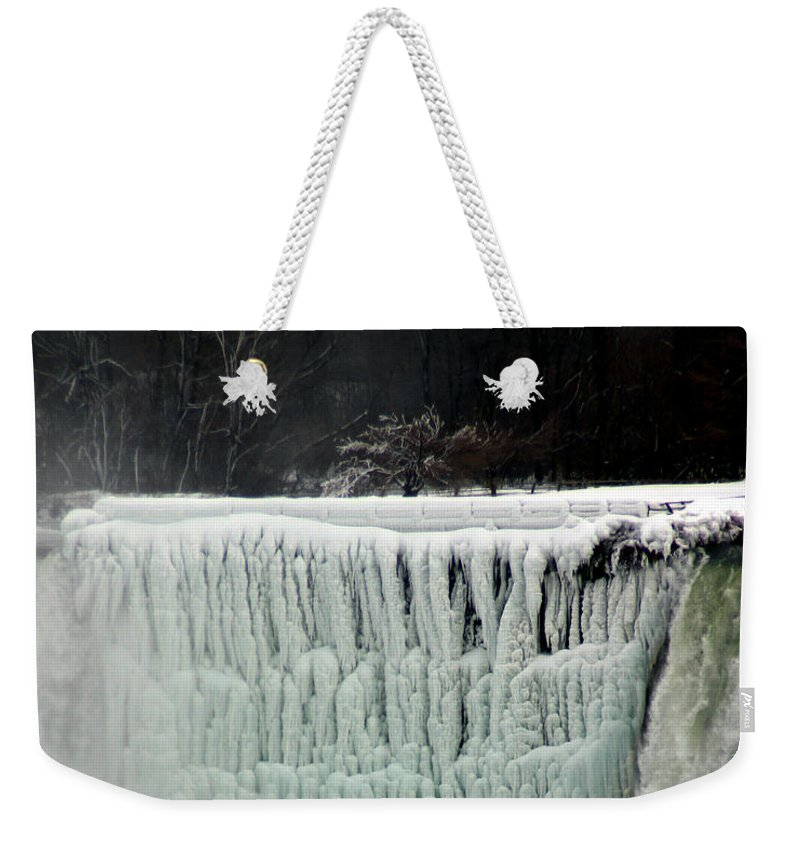 Landscape Weekender Tote Bag featuring the photograph Frozen Falls by Anthony Jones