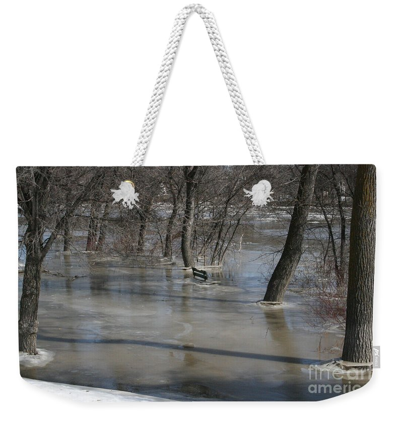 Spring Weekender Tote Bag featuring the photograph Frozen Floodwaters by Mary Mikawoz