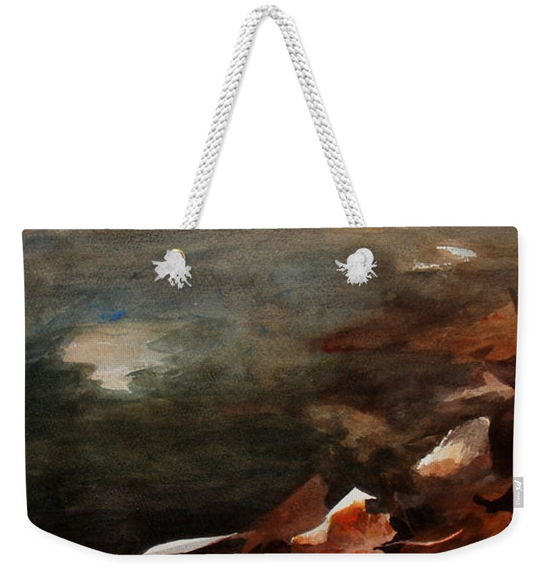 Landscape Weekender Tote Bag featuring the painting Frozen Memories by Rachel Christine Nowicki