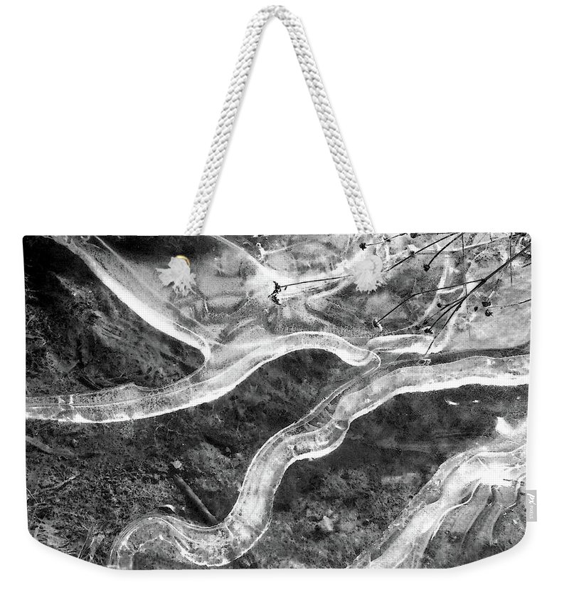 Abstract Weekender Tote Bag featuring the digital art Frozen Puddle Two by Lyle Crump