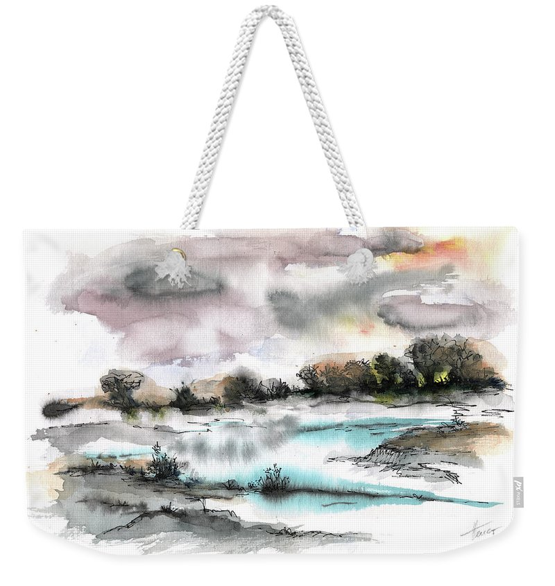 Abstract Landscape Weekender Tote Bag featuring the painting Frozen River by Aniko Hencz
