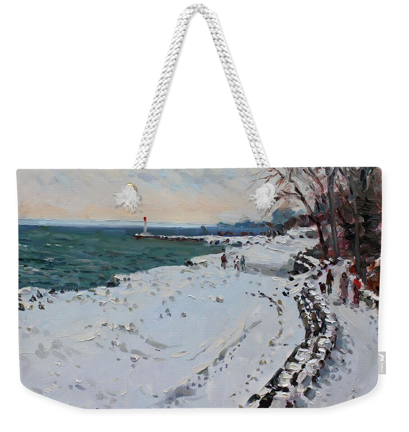 Frozen Shore In Oakville Weekender Tote Bag featuring the painting Frozen Shore In Oakville On by Ylli Haruni