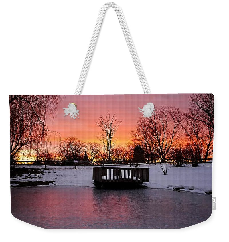 Sunrise Weekender Tote Bag featuring the photograph Frozen Sunrise by Frozen in Time Fine Art Photography