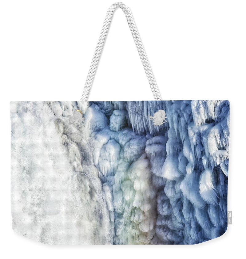 Waterfall Weekender Tote Bag featuring the photograph Frozen Waterfall Gullfoss Iceland by Matthias Hauser